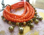 Asymmetrical Tangerine Beaded Necklace with Brass Chain and Skull