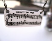 Music Notes Pendant on Antiqued Brass Chain - Mozart