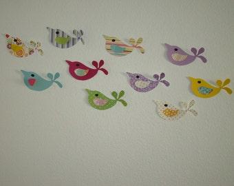 3D Wall Art Decor Pretty Birds Adhesive Included