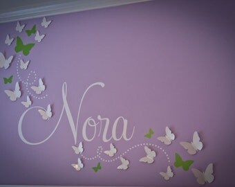 3D Paper Butterfly, Wall Art, 3D Butterflies, Nursery Wall Art, Butterfly Decal, BUY 2 Sets Get 1 FREE, Butterfly Nursery, Dorm Decor, NORA