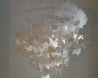 EXTRA LARGE Baby Mobile White  Shimmer Bird Baby Mobile Available in many colors, shimmer and non shimmer