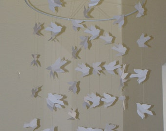 White Light and Flowing Bird Baby Mobile