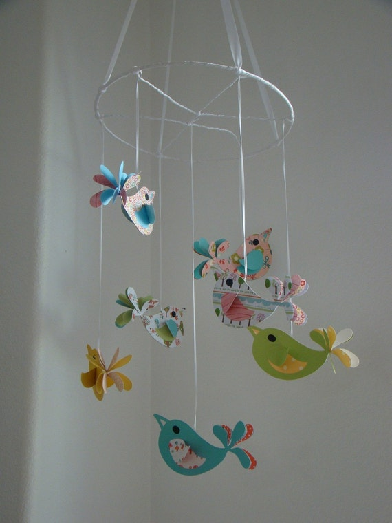 Bird baby mobile pretty birds baby mobile bird nursery for Bird mobiles for nursery