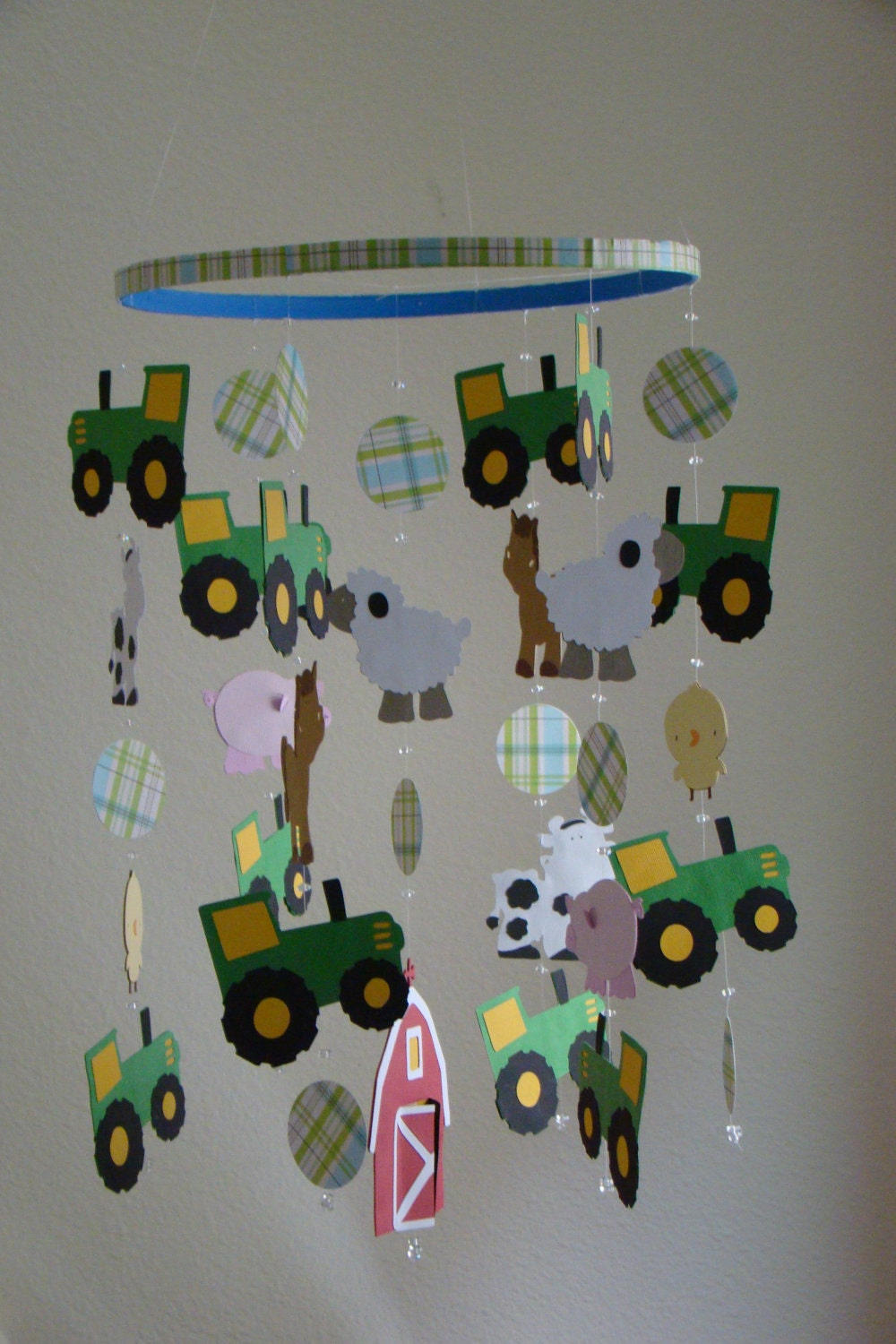 Tractor Mobile For Cribs : John deere tractor farm animal barn baby mobile by