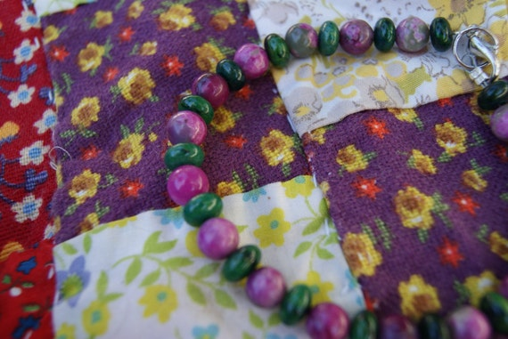 Green and Purple Chunky Stone Anklet