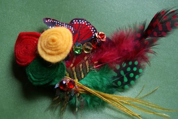 Rasta Rainbow Feather and Felt Hair Fascinator Barrette