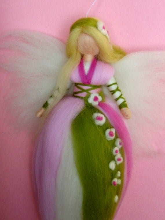 SPRING FAIRY Needle Felted Wool  Doll Angel Faeries Soft Sculpture Waldorf Inspired