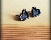 Silver filigree studs, heart studs earrings, filigree posts, everyday earrings, silver post earrings, oxidised, spring fashion