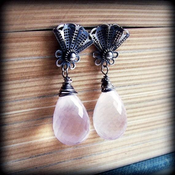 Bridal earrings/ sterling silver earrings / pink pastel earrings/ metalsmith earrings/ metalwork/ post earrings / studs / filigree/ spring