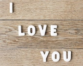 I Love You Typography Photography print  8x8 Fine Art Brown wood love Home Decor graphic letters design wall decor poster
