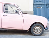 Pink retro french Car photography print South of France 8x10 French color still life wall decor poster home decor vintage street photography