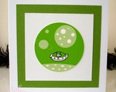 Blank greeting card - Space travel in green