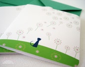 Note cards - set of 3 - Smelling the flowers