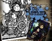 PRINTABLE Pirate Digi Stamp Mermaid Coloring Page Fun Fantasy Art Hannah Lynn