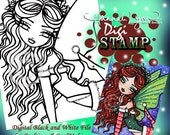 PRINTABLE Christmas Fairy Digi Stamp Coloring Page Fantasy Art Hannah Lynn
