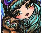 ACEO Baby Owl Nymph Mermaid Fairy Fantasy Art Card ATC Open Edition 106