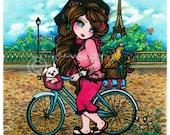 French Girl & Puppy on Bicycle 8x10 Girls Around the World Art Print Hannah Lynn