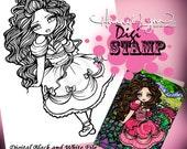 PRINTABLE Princess Digi Stamp Mermaid Coloring Page Fun Fantasy Art Hannah Lynn