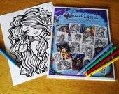 Vol 4 Fantasy Coloring Pages Book Pack Volume 4 Mermaid Fairy Art by Hannah Lynn