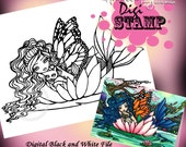 PRINTABLE Monarch Mermaid Digi Stamp Coloring Page Fun Fantasy Art Hannah Lynn