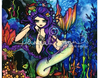 Shannon Mermaid Tropical Fish Ocean Fantasy Fairy Art Print Signed Hannah Lynn