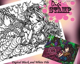 PRINTABLE Digi Stamp Princess Dragon Coloring Page Fun Fantasy Art Hannah Lynn