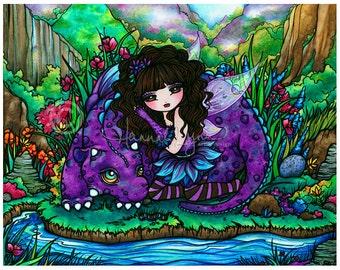 Fairy Dragon Art Print Fantasy 8x10 by Hannah Lynn
