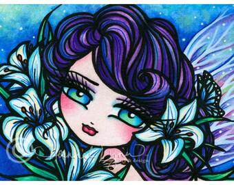 5x7 Easter Lily Fairy Fairy Fantasy Art Print by Hannah Lynn