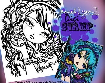 PRINTABLE Dragon Fairy Digi Stamp Mermaid Coloring Page Fun Fantasy Art Hannah Lynn