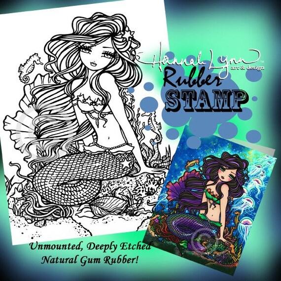 UM Rubber Kathleen Mermaid Stamp Fantasy Art Hannah Lynn