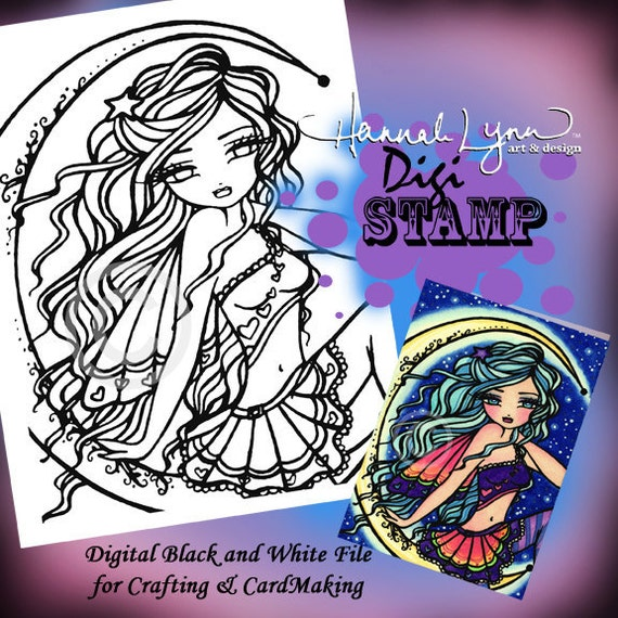 PRINTABLE Digi Stamp Fairy Coloring Page Fun Fantasy Art Hannah Lynn
