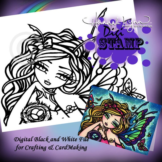 PRINTABLE Butterfly Fairy Digi Stamp Mermaid Coloring Page Fun Fantasy Art Hannah Lynn