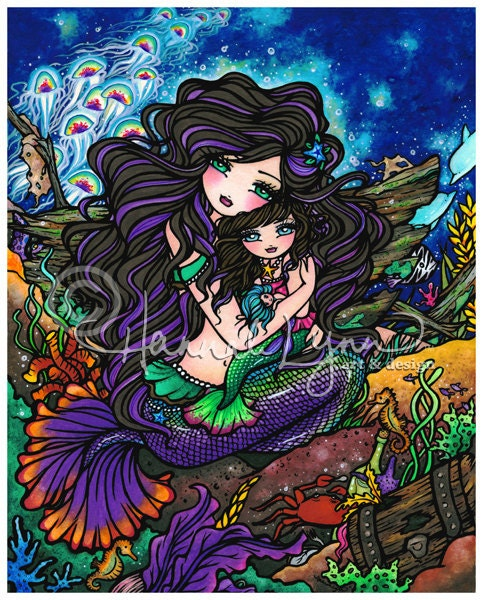 Mermaid Baby Doll 8x10 Art Print Fantasy Jellyfish Hannah Lynn