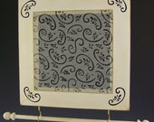 Black Swirl on White Distressed Frame -Square Earring and Jewelry Holder