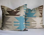 Pair Pillow Covers Turquoise Navajo SouthWestern