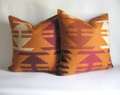 Pair Pillow Covers 18 x 18 Kilim Navajo Tribal Harvest