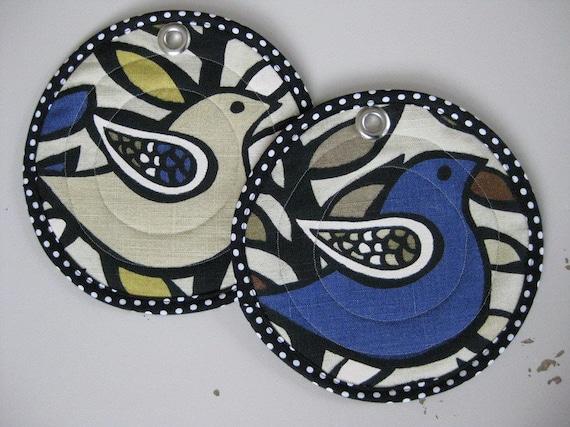 Linen Pot Holders Quilted Pair Great Gift Modern Birds
