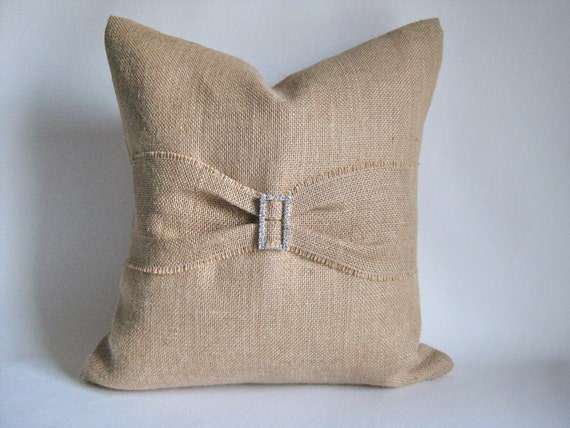 Burlap Pillow Cover Rhinestone Buckle Bling Sample Sale