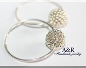 Silver beaded bead sterling silver hoop earrings