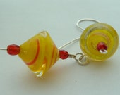 Sterling Silver with yellow glass saturn bead earrings