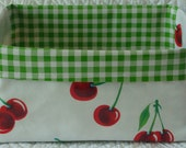 Red Cherry and Green Gingham Oilcloth Caddy