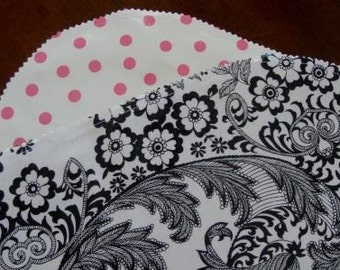 Black Paisley and Pink Dots Oilcloth Placemats