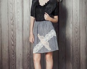 Gray slip skirt with lace detail