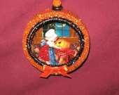 Vintage Style Halloween Tree 2 D Panoramic Scene Ornaments titled LITTLE GIRL and her PUMPKIN (orange)