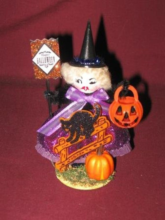 Vintage Style Halloween German Cotton Watte and Chenille Novelty Decoration Little WITCH with Black Cat on Fence Jack O Lantern and Sign
