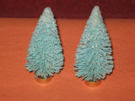 SISAL Trees 3 inch LIGHT BLUE with White Glitter Frost and Gold Wood Base 2 per Set