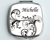 Personalized Mirrored Compact - An Elegant Scroll design in black and white. Great Bridal Party Gift Idea.