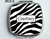 Personalized or Plain Mirrored Compact  - Bold black and white Zebra design  - Bridal party gifts