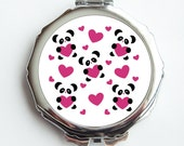 Mirrored Compact - Adorable Pandas and Hearts