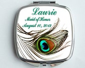 Bridesmaids Gifts-Personalized-Mirrored Compact-Pocket Mirror- Striking beautiful peacock feather.